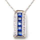 Blue Sapphire  Pendant with Necklace B8CPN-003